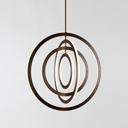 Halo Chandelier - Vertical, 4 Rings (Bronze) | Suspended lights | Roll & Hill