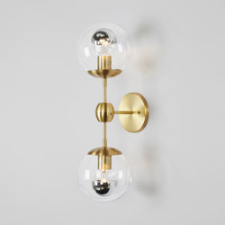 Modo Sconce - 2 Globes (Brass/Clear) | Appliques murales | Roll & Hill