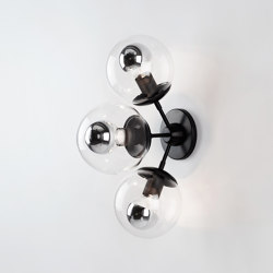 Modo Sconce - 3 Globes (Black/Clear) | Wall lights | Roll & Hill