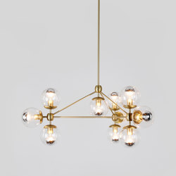 Modo Chandelier - 3 Sided, 10 Globes (Brass/Clear) | Lámparas de suspensión | Roll & Hill