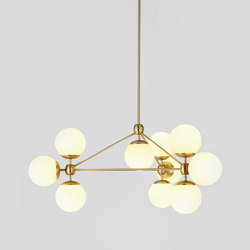 Modo Chandelier - 3 Sided, 10 Globes (Brass/Cream) | Lámparas de suspensión | Roll & Hill