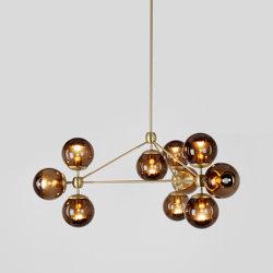 Modo Chandelier - 3 Sided, 10 Globes (Brass/Smoke) | Lámparas de suspensión | Roll & Hill