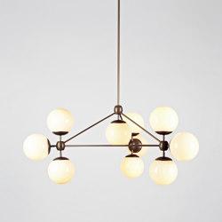 Modo Chandelier - 3 Sided, 10 Globes (Bronze/Cream) | Lámparas de suspensión | Roll & Hill