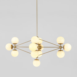 Modo Chandelier - Diamond, 13 Globes (Brass/Cream)   Suspensions   Roll & Hill