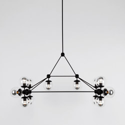 Modo Chandelier - Rectangle, 14 Globes (Black/Clear) | Suspensions | Roll & Hill
