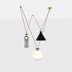 Shape Up 3-Piece Chandelier (Blackened steel) | Suspended lights | Roll & Hill