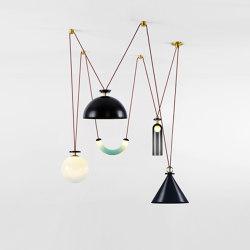 Shape Up 5-Piece Chandelier (Blackened steel cone/Blackened steel hemisphere) | Suspended lights | Roll & Hill