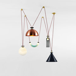 Shape Up 5-Piece Chandelier (Blackened steel cone/Brushed copper hemisphere) | Suspended lights | Roll & Hill