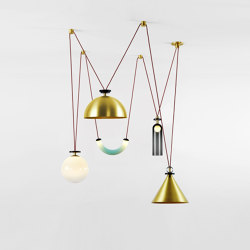 Shape Up 5-Piece Chandelier (Brushed brass cone/Brushed brass hemisphere) | Suspended lights | Roll & Hill