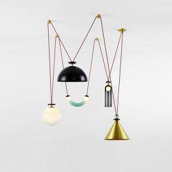Shape Up 5-Piece Chandelier (Brushed brass cone/Blackened steel hemisphere) | Suspended lights | Roll & Hill