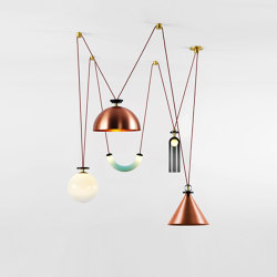 Shape Up 5-Piece Chandelier (Brushed copper cone/Brushed copper hemisphere) | Suspended lights | Roll & Hill