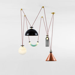 Shape Up 5-Piece Chandelier (Brushed copper cone/Blackened steelhemisphere) | Suspended lights | Roll & Hill