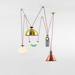 Shape Up 5-Piece Chandelier (Brushed copper cone/Brushed brass hemisphere) | Suspended lights | Roll & Hill