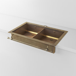 DOUBLE BOWL BURNISHED BRASS SEMI-RECESSED SINK