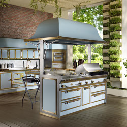PACIFIC LIGHT BLUE AND BURNISHED BRASS KITCHEN | Cuisines équipées | Officine Gullo