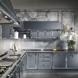 STEEL BLUE GREY AND SATIN NICKEL KITCHEN | Cuisines équipées | Officine Gullo
