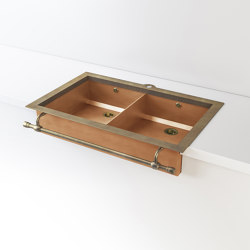 DOUBLE BOWL BURNISHED COPPER SEMI-RECESSED SINK