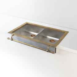 DOUBLE BOWL SATIN STAINLESS STEEL SEMI-RECESSED SINK