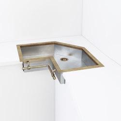 SATIN STAINLESS STEEL SEMI-RECESSED CORNER SINK LVQ042 | Kitchen sinks | Officine Gullo