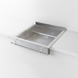 SATIN STAINLESS STEEL SEMI-RECESSED SINK LVQ043 | Éviers de cuisine | Officine Gullo