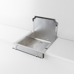SATIN STAINLESS STEEL SEMI-RECESSED SINK LVQ057   Éviers de cuisine   Officine Gullo