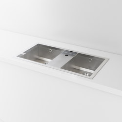 DOUBLE BOWL SATIN STAINLESS STEEL BUILT-IN SINK