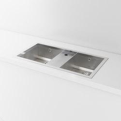 DOUBLE BOWL SATIN STAINLESS STEEL BUILT-IN SINK LVQ067 | Kitchen sinks | Officine Gullo