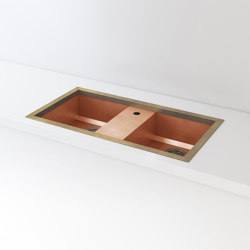 DOUBLE BOWL BURNISHED COPPER BUILT-IN SINK LVQ069 | Kitchen sinks | Officine Gullo