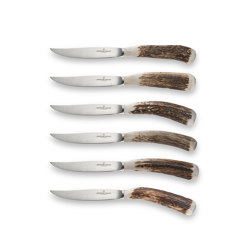 PROFESSIONAL KNIVES | STEAK KNIFE SET WITH SMOOTHED DEER HORN HANDLES | Cutlery | Officine Gullo