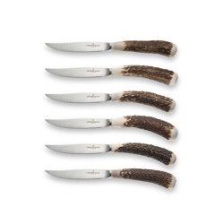 PROFESSIONAL KNIVES | STEAK KNIFE SET WITH NATURAL DEER HORN HANDLES | Cutlery | Officine Gullo