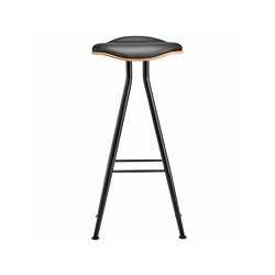 Barfly Bar Chair, Black Frame - Natural Seat / Premium Leather Black, High 77 cm | Taburetes de bar | NORR11