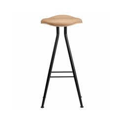 Barfly Bar Chair, Black Frame - Natural Seat / Vintage Leather Camel, High 77 cm | Bar stools | NORR11