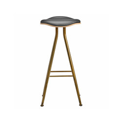 Barfly Bar Chair, Brass Frame - Natural Seat / Premium Leather Black, High 77 cm | Bar stools | NORR11