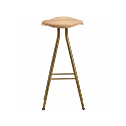 Barfly Bar Chair, Brass Frame - Natural Seat / Vintage Leather Camel, High 77 cm | Bar stools | NORR11