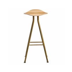 Barfly Bar Chair, Brass Frame - Natural Seat, High 77 cm | Bar stools | NORR11