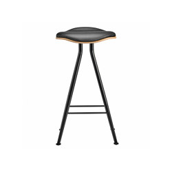 Barfly Bar Chair, Black Frame - Natural Seat / Premium Leather Black, Low 67 cm | Bar stools | NORR11