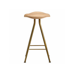 Barfly Bar Chair, Brass Frame - Natural Seat / Vintage Leather Camel, High 67 cm | Bar stools | NORR11