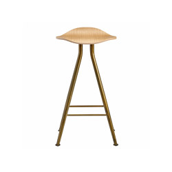 Barfly Bar Chair, Brass Frame - Natural Seat, High 67 cm | Bar stools | NORR11