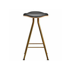 Barfly Bar Chair, Brass Frame - Natural Seat / Premium Leather Black, Low 67 cm | Bar stools | NORR11