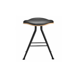 Barfly Bar Stool, Black Frame - Natural Seat / Premium Leather Black | Sgabelli | NORR11