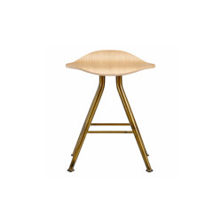 Barfly Bar Stool, Brass Frame - Natural Seat | Stools | NORR11