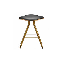 Barfly Bar Stool, Brass Frame - Natural Seat / Premium Leather Black | Stools | NORR11