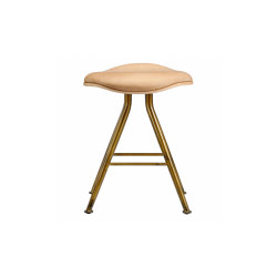 Barfly Bar Stool, Brass Frame - Natural Seat / Vintage Leather Camel | Stools | NORR11