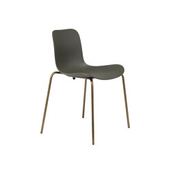 Langue Stack Dining Chair, Brass / Army Green | Chairs | NORR11