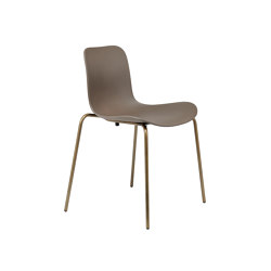 Langue Stack Dining Chair, Brass / Gargoyle Brown | Chairs | NORR11