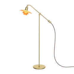 """PH 3/2 Amber Coloured Glass Floor Lamp """"The Water Pump"""" 