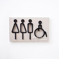 Restroom Sign | 4pcs | black | Symbols / Signs | Moheim