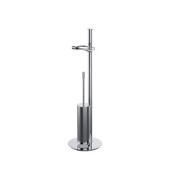 Floor standing column with paper holder and brass brush holder | Toilet-stands | COLOMBO DESIGN