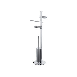 Floor standing column with towel holder, soap holder, paper holder and brass brush holder | Toilet-stands | COLOMBO DESIGN