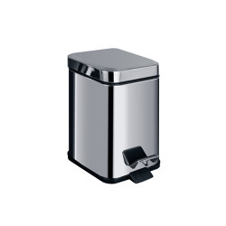 Small squared pedal bin (L 3), varnished stainless steel with amortized closure. Available colors: matt white or matt black | Bath waste bins | COLOMBO DESIGN